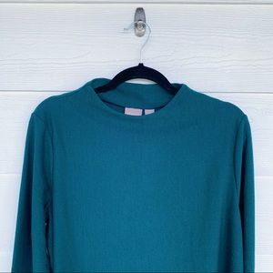 Chico's Faelyne Funnel Sweater Green Top Size 2